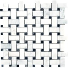 "Carrara Extra Marble Mosaic Basketweave Polished 12.5"" x 12.5"" Tile in White"