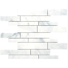 "Carrara Extra Marble Mosaic Random Strip Polished 16"" x 12"" Tile in White"