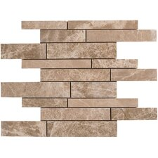 "Emperador Light Marble Mosaic Random Strip Polished 16"" x 12"" Tile in Beige and Brown"
