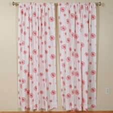 Dandelion White Coral Rod Pocket Curtain Single Panel