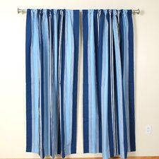 Blue Marine Rod Pocket Curtain Single Panel