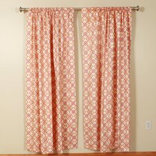 Interlocking Squares Rod Pocket Curtain Single Panel