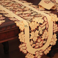 Bountiful Leaf Embroidered Cutwork Table Runner