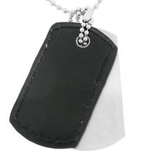 Stainless Steel and Leather Dog Tag Pendant