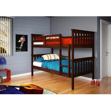 Twin over Twin Bunk Bed with Built-In Ladder