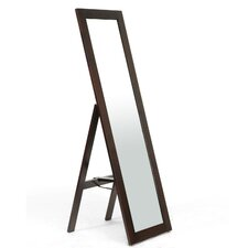 Baxton Studio Lund Wood Modern Mirror with Built-In Stand
