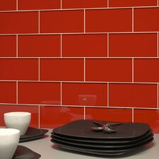 "Subway 6"" x 3"" Tile in Red Blossom"