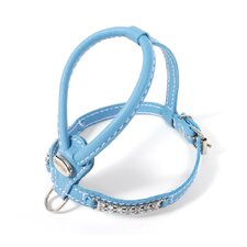 Teacup Leather Dog Harness with Crystals in Tiffany Blue