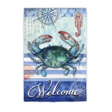 Striped Crab Welcome Garden Flag