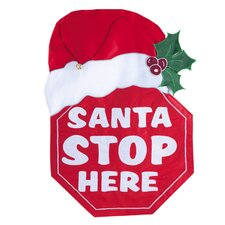 Santa Stop Here Applique Garden Flag