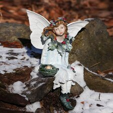 Snow and Ice Holly Berry Forest Fairy Seated Fairy Statue