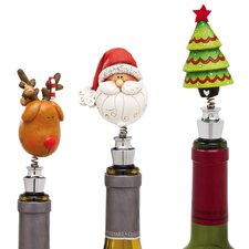 Happy Holly Days Bobblehead Winestopper (Set of 3)