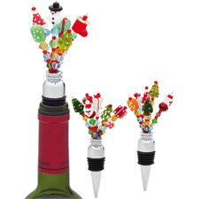 Holiday Frizzle Frazzle Glass Beaded Winestopper (Set of 3)