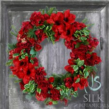 Amaryllis Holly Wreath