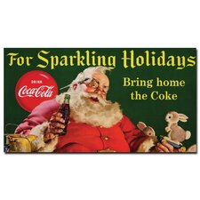 "Coca-Cola ""Santa with Rabbit for Sparkling Holidays"" Canvas Art"
