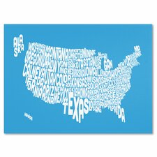 'USA States Text Map' Canvas Art