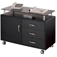 Seguro Mobile Lateral 3 Drawer Wood File Cabinet in Graphite