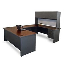 Pronto U Shaped Computer Desk with Flipper Door Unit