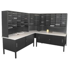 84 Slot Corner Literature Organizer with Cabinet