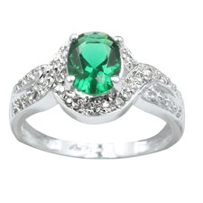 Sterling Silver Cubic Zirconia Cocktail Ring in Green/White