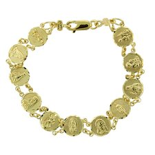 14k Gold over Silver 6.5 inches Child's Saints Medal Bracelet