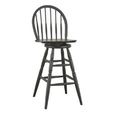 "30"" Antique Black Swivel Windsor Barstool"