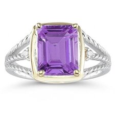 14K Two-Tone Emerald Cut Gemstone Ring