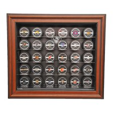 NHL Thirty Puck Cabinet Style Display Case in Brown