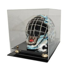 NHL Goalie Mask Display Case with Gold Risers