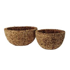 Knotted Round Water Hyacinth Bowl (Set of 2)