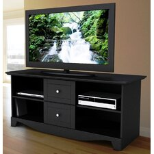 "Pinnacle 56"" TV Stand with Two Center Drawers in Black"