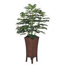 Artificial Split Philo Floor Plant Rattan Planter