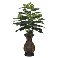Artificial Pothos Floor Plant Rattan Planter
