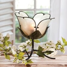 Embossed and Hand Painted Glass and Metal Flower Table Lamp