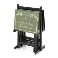 Wines of the World Wine Label TV Tray Set with Stand (Set of 4)