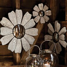Bohemian Rhapsody Nature's Charm Glass Mosaic Flower Shaped Mirror (Set of 3)