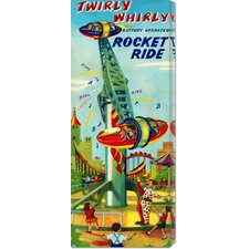 'Twirly Whirly Rocket Ride' by Retrorocket Stretched Canvas Art