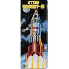 'Atom Rocket-15' by Retrobot Stretched Canvas Art