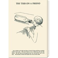 'Try This on a Friend - Corked' by Retromagic Stretched Canvas Art