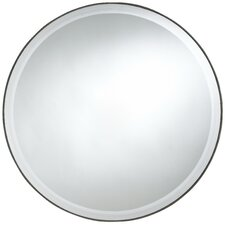 Seymour Round Mirror in Dark Brown