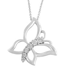 Rhodium Plated Silver Diamond Butterfly Necklace