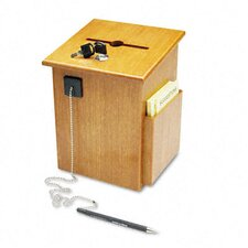 Solid Wood Suggestion Box with Locking Top, 7-1/2W X 7-1/4D X 10H, Medium Oak