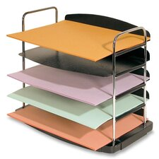 "Desk Tray,5-Pocket,Horizontal,12""x8-1/2""x11-1/4"",Charcaol"