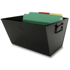 Filing/Posting Tub Storage Box, Letter, Textured Steel, Black