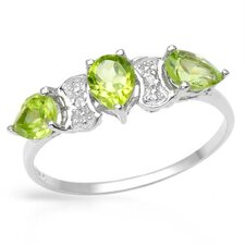 925 Sterling Silver Pear Cut Peridot Ring