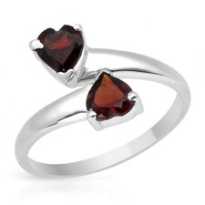 925 Sterling Silver Heart Cut Garnets Ring