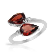 925 Sterling Silver Pear Cut Garnets Ring