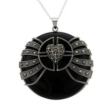 925 Sterling Silver Marcasite Necklace