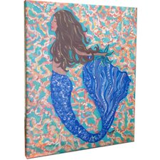 Brunette Mermaid Mounted Giclee Wall Art
