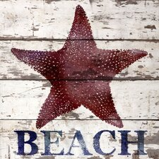 Starfish Beach Reclaimed Wood - White Barn Siding Art